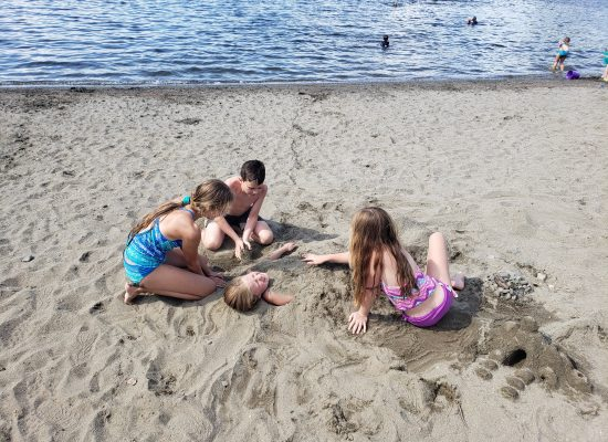 Playing on Sand Beach